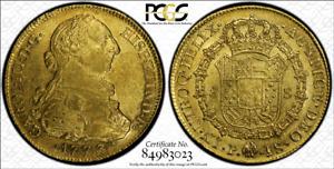 G015 rare COLOMBIA. over date 1773/2-JS 8 Escudos. Popayan mint PCGS AU58
