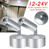 2x 12V 1W Interior LED Reading Spot Light RV Boat Caravan Motorhome Wall Lamp