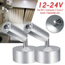 2x 12V 1W Interior LED Reading Spot Light RV Boat Caravan Motorhome Wall Lamp