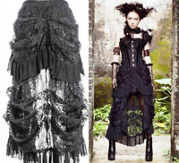 Victorian Steampunk Burlesque Gothic Black Lace Hi Low Bustle Skirt Size 6 to 16