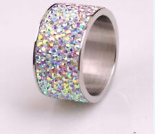 8-Row Micro Pave Aurora Borealis Crystal Eternity Stainless Steel Ring Size 9