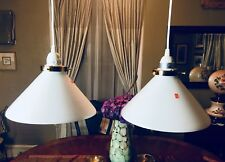 Vintage White Cone Hanging Retro Pendant 2 Light Copper Holder Glass Shade Italy
