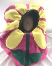 Fitted baby car seat canopy w/peekaboo opening Handmade Fleece Daisy Flower Face