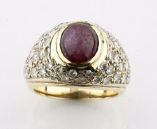 14k Yellow Gold Star Ruby and Diamond Dome Ring Size 5.75 TCW = 2.50 ct