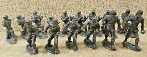 Vintage 1960's Plastic Grey Army Military Men Soldiers MPC Ring Hand Lot of 15