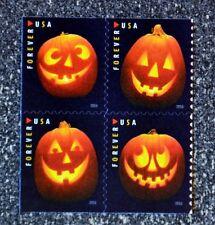 2016USA #5137-5140 Forever - Jack O'Lanterns - Block of 4 Mint pumpkin halloween