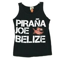 Pirana Joe Belize Tee Tank Top Shirt Mens Size M Medium Faded Black 100% Cotton