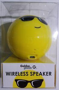 Gabba Goods GG-RBS-EM1 Cool Emoji Face Bluetooth Wireless Speaker Yellow New