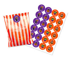 Halloween orange & white paper party bags with 30mm stickers - pack of 24