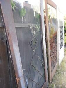 Vintage 1950s Wood Farmhouse Screen Door Lot 3 Metal Curlicue Weathered Repairs