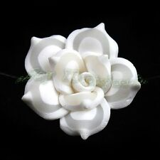 30x Wholesale White Charms Flower Fimo Beads Fit Jewelry Making 25mm 111659