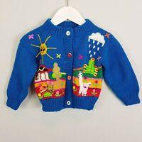 Size 0 (or 6 - 12 mths ) Handmade in Peru Baby Girls Knit cardigan NEW