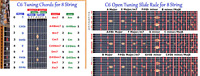 C6 CHORD & SLIDE RULE CHARTS FOR 8 EIGHT STRING LAP STEEL GUITAR - 2 LAMINATIONS