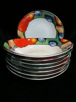 TUSCANY BY MISONO FRUIT DESIGN GREEN BACKGROUND 8 OVAL COUPE SOUP BOWLS MINT