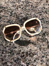 1960/70's Ted Lapidus Paris Cream & Gold Oversized Sunglasses Glasses