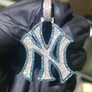 Men's 925 Pure Silver NY Yankees Logo Pendant Fully Brilliant White & Blue Stone