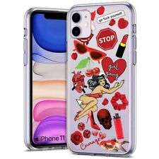 Thin Gel Phone Case for Apple iPhone 11,XS,XR,8 Series,Sticker 11 Red Print
