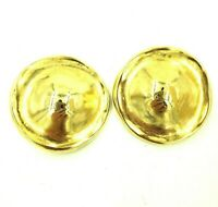 Huge Erwin Pearl Polished Gold Tone Domed Clip On Earrings Big Bold Vintage 80s