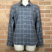 UNTUCKIT Womens Sz 2 Flannel Button Down Shirt Window Pane Gray White Career -Q