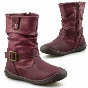 Girls Kids Childrens Zip Up School Winter Casual Mid Calf Biker Boots Shoes Size