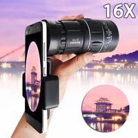 16X52 HD Universal Hiking Concert Optical Monocular Telescope Zoom Phone Lens