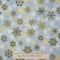 Christmas Fabric - Holiday Flourish 6 Gold Blue Snowflakes - Robert Kaufman YARD