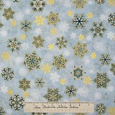 Christmas Fabric - Holiday Flourish 6 Gold Blue Snowflakes - Robert Kaufman YARD