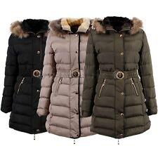Womens Padded Puffer Shell Hip Length Winter Fur Jacket Coat Puffa 099