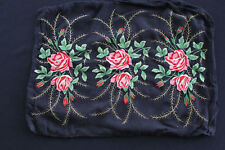 "FRENCH VINTAGE 1920'S-1930'S BLACK CREPE SILK  EMBROIDERED PILLOW CASE 19"" X 14"""