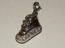 Sterling Silver Diamond Baby Shoe Charm  .15pts NR BIN 3.1 Grams W/ Box SEE PICS