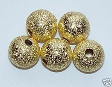 75pcs 8mm Round Brass Stardust Metal Spacers - Bright Gold