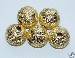 75pcs 8mm Round Brass Stardust Metal Spacer Beads - Bright Gold
