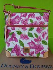 Dooney & Bourke Coated Cotton Bougainvillea Crossbody Bag in White/Fuchsia Pink.