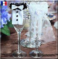 """Décoration de mariage """"costume Mariée&Marié""""flûtes à champagne . 2pcs"""