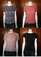 F&F Tesco Clothing Floral Round Neck short Sleeve Pleated Top Blouse Tunic Shirt