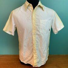 Rusty Men's Short Sleeve Button Down Shirt - Medium, Yellow & White, EUC