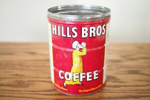 Vintage 1950s Hills Bros 2 LBS Red Coffee Tin Can 1952