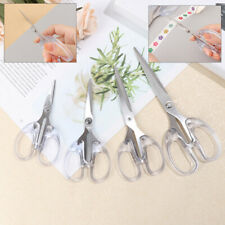Stainless Steel Scissors Transparent Handle Cutting Tools Office Supplies ^ss