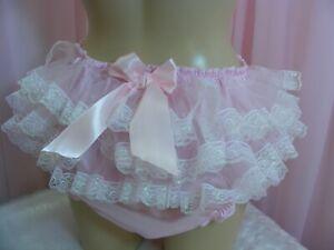 sissy pink silky satin ruffle tutu lace panties mens lingerie knickers