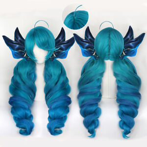 LOL Gwen Cosplay Wig LOL Cosplay Gradient Blue Long Ponytails Game Wig