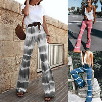 Women's Gradient High Waist Wide Leg Pants Ladies Summer Casual Flared Trousers