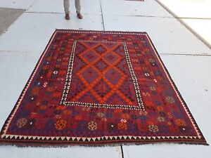 8'6 x 6'5 Handwoven Traditional Afghan Wool Kilim Rug Carpet Kelim Area Rug 6565