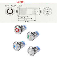5Pin 19mm 12V LED Self-locking Latching ON/OFF Push Button Switch IP67 IK10