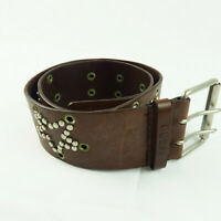 Guess Jeans Star Studded Brown Genuine Leather Womens Belt 32 Double Prong Wide