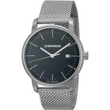 Wenger Men's Watch Urban Classic Black Dial Silver Mesh Bracelet 01.1741.114
