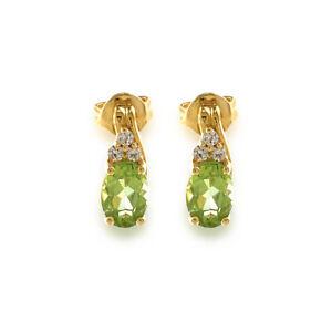 Green Peridot Oval cut and Diamond oval cut Stud/drop Yellow Gold Earrings