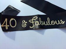 40 & Fabulous birthday party sash 18 21 30 50 60 70 girls on tour hen party