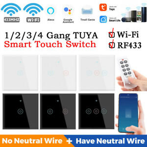 TUYA WiFi 433MHZ Smart Touch Switch Home Wall Button for Google Home Alexa
