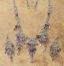 Filigree Wirework- Necklace & Earring Set- Amethyst Gemstone- Artisan Jewelry