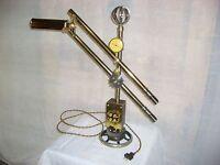 Articulating Steampunk Desk/Table Lamp Active Gauge, Sprocket & Knife Switch